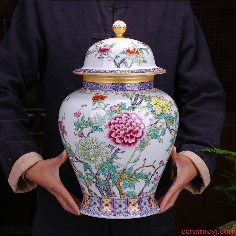 Palace restoring ancient ways is the general pot of storage tank furnishing articles ceramic tea pot big yards of pu 'er tea tea package box