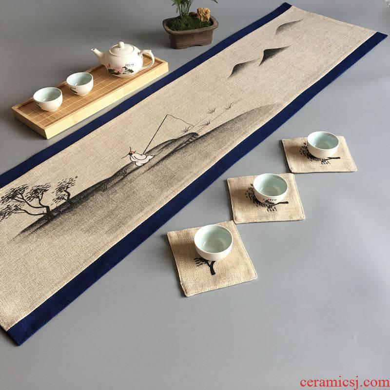 Tea Tea Tea towel cloth Tea Tea art, Tea table cloth cloth waterproof zen cotton long rectangle