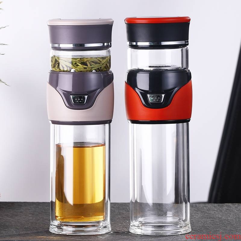 Separation of longteng tea tea cup double insulation glass cup portable filter with large capacity