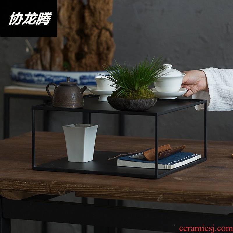 Association between Japanese, wrought iron tea stall le iron rich ancient frame, the tea set to receive much treasure cabinet teahouse show kunfu tea