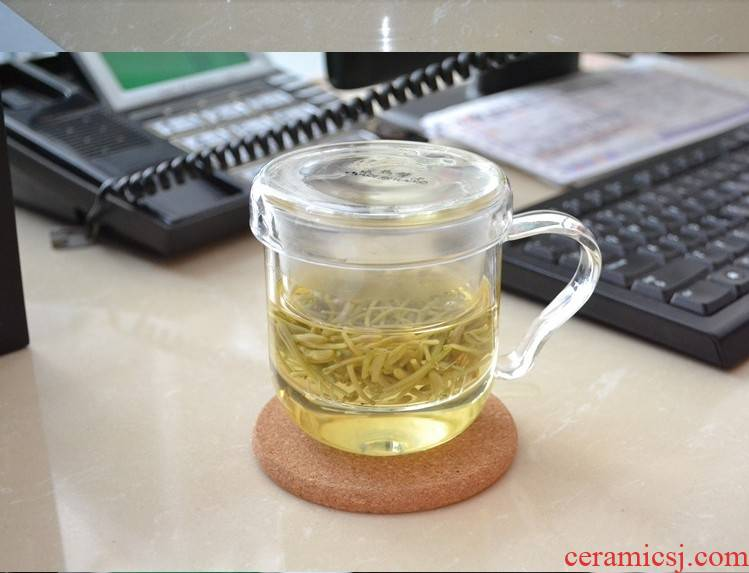 Association, longteng checking glass three cup tea cup with lid flowers and the plants to hold to high temperature water handle cup transparent glass cup