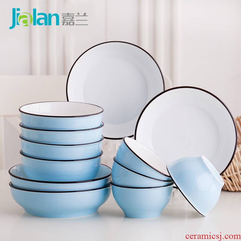 Garland home dishes suit creative Japanese express bowl plate combination 12 six ceramic tableware suit