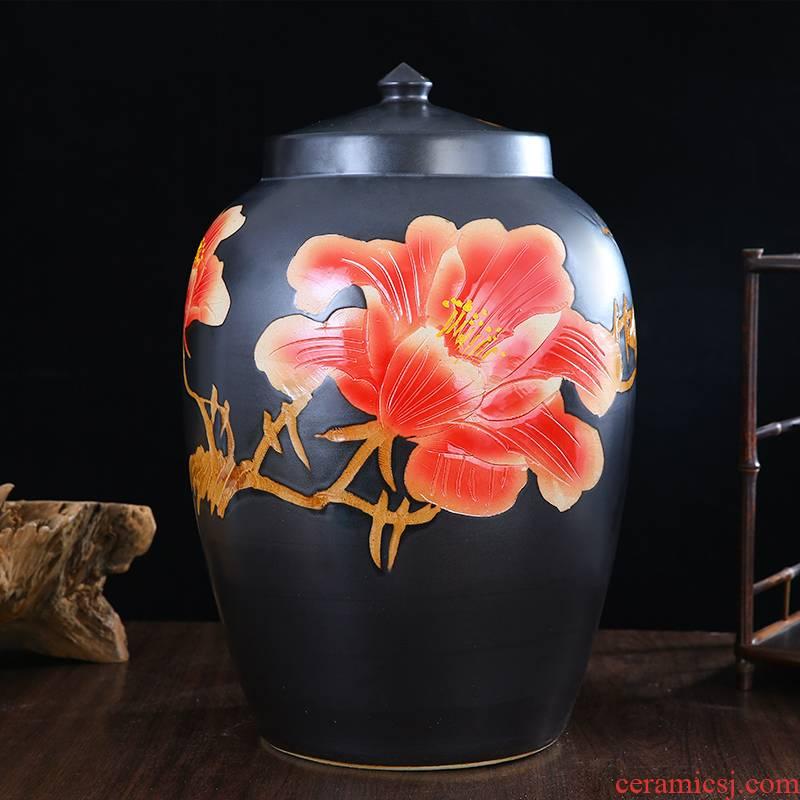 Jingdezhen ceramic barrel 30 jins of 50 kg 100 jins ricer box sealed with cover household storage tank tank jars