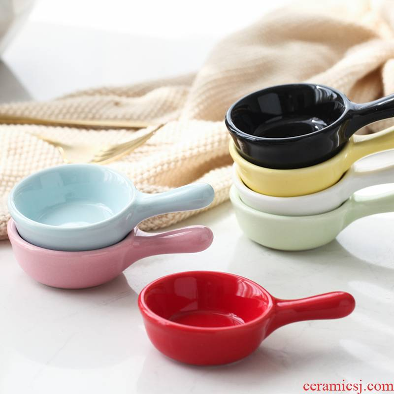 Japanese dip ceramic creative household lovely snack plate small plate sauce vinegar pickling plate plate touch water dish