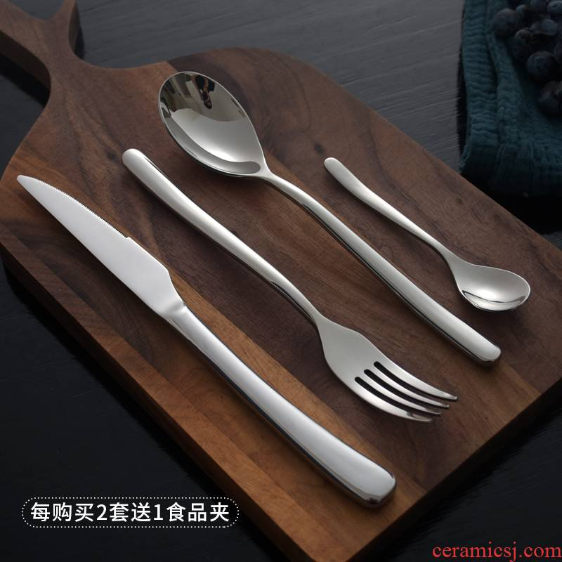The top steak knife and fork set stainless steel knife and fork spoon, three sets of high - grade western tableware household