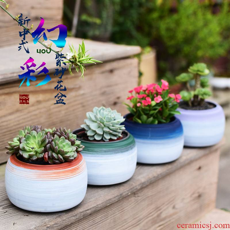 The meat plant purple sand flowerpot planting moss green plant pot pot home desktop office exchanger with The ceramics fleshy basin