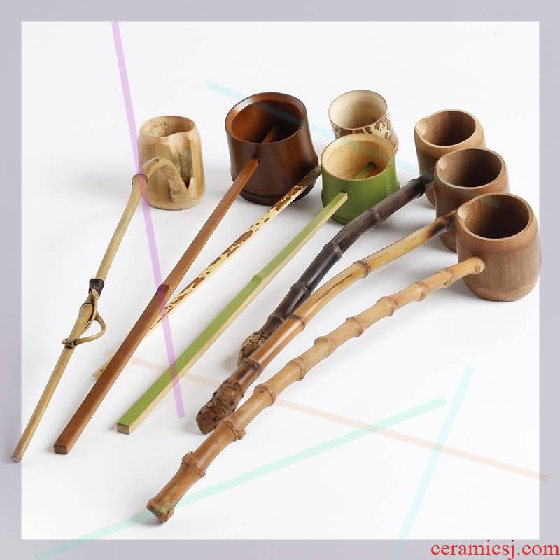 Long - handled bamboo bamboo run water water the flowers, skeet points bamboo tea spoon tea spoon run tea spoon, run out of bamboo buy wine DiaoZi