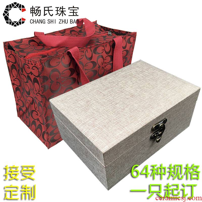 The Custom large linen JinHe play furnishing articles porcelain collectables - autograph collection gift boxes, wooden jewelry box packing