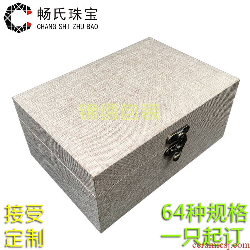 Wooden large linen JinHe play furnishing articles collectables - autograph collection box of porcelain gifts custom jewelry packaging box