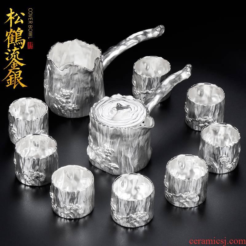 Artisan fairy kung fu tea set ceramic tasted silver gilding Japanese household hand side of a complete set of the pot of tea set