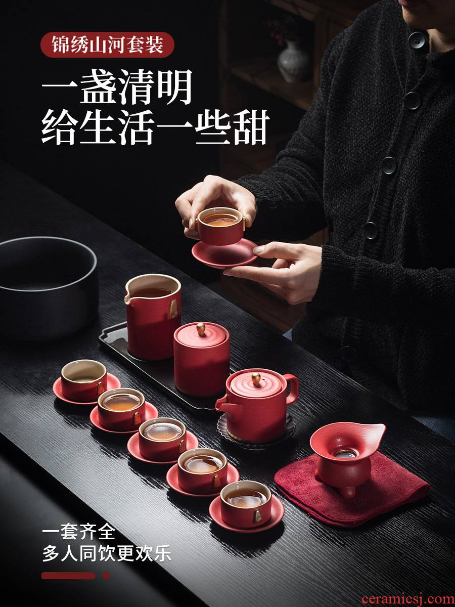 Evan ceramic kung fu tea set home sitting room of the teapot tea prevent hot tea tray of a complete set of gift boxes