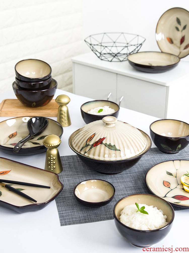 Tableware kit dishes home dishes set ceramic bowl dish dish bowl chopsticks plates Chinese creative move 6/10 combination