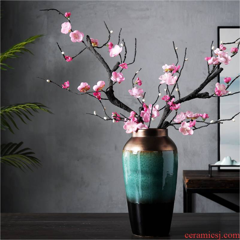 The New Chinese jingdezhen ceramic table vase furnishing articles sitting room adornment flower arranging dried flower creative TV ark, decoration