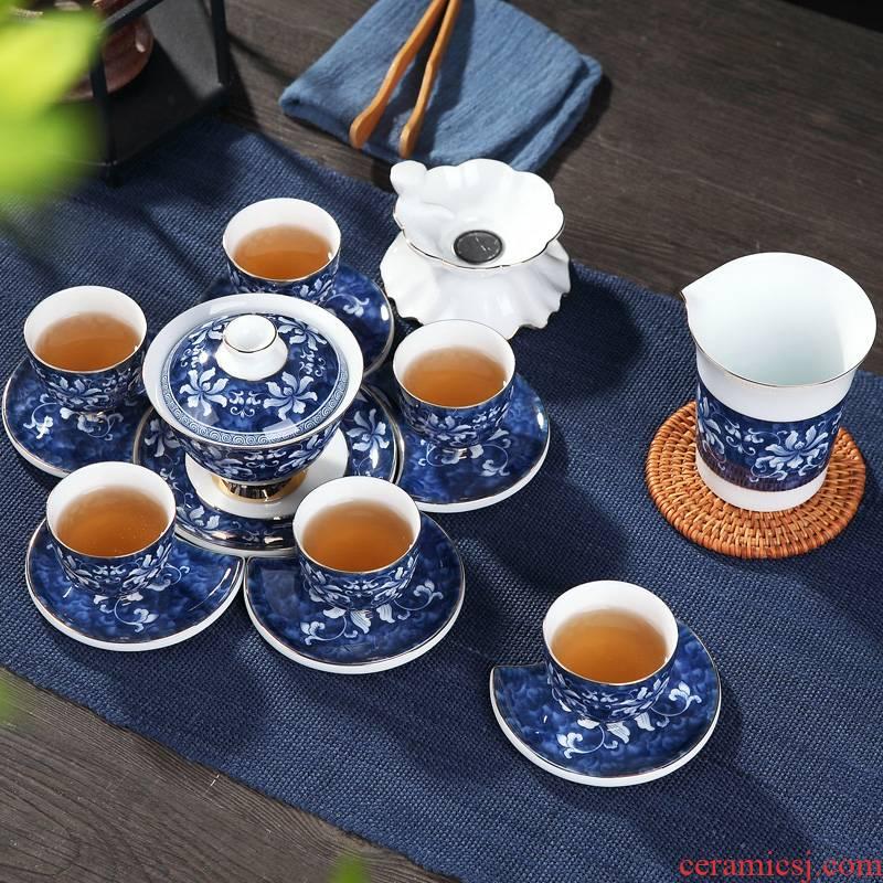Jingdezhen ceramic tea set business gifts kung fu tea set a complete set of blue and white porcelain teapot up phnom penh gift box