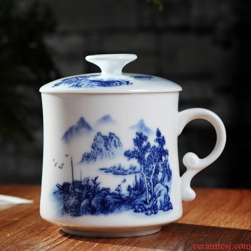 Jingdezhen ceramic cups with cover new filter glass with the personal office cup men 's and women' s gift tea set