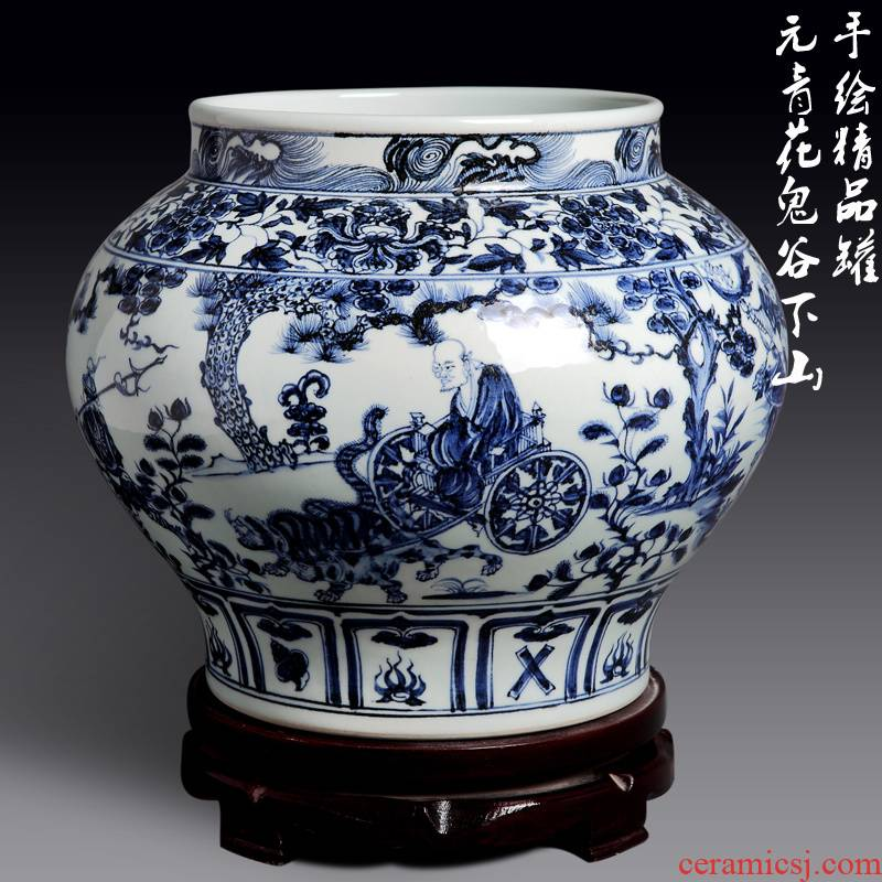 Jingdezhen ceramic antique vase yuan blue and white ghost cereal is downhill hand - made big pot than high copy is written