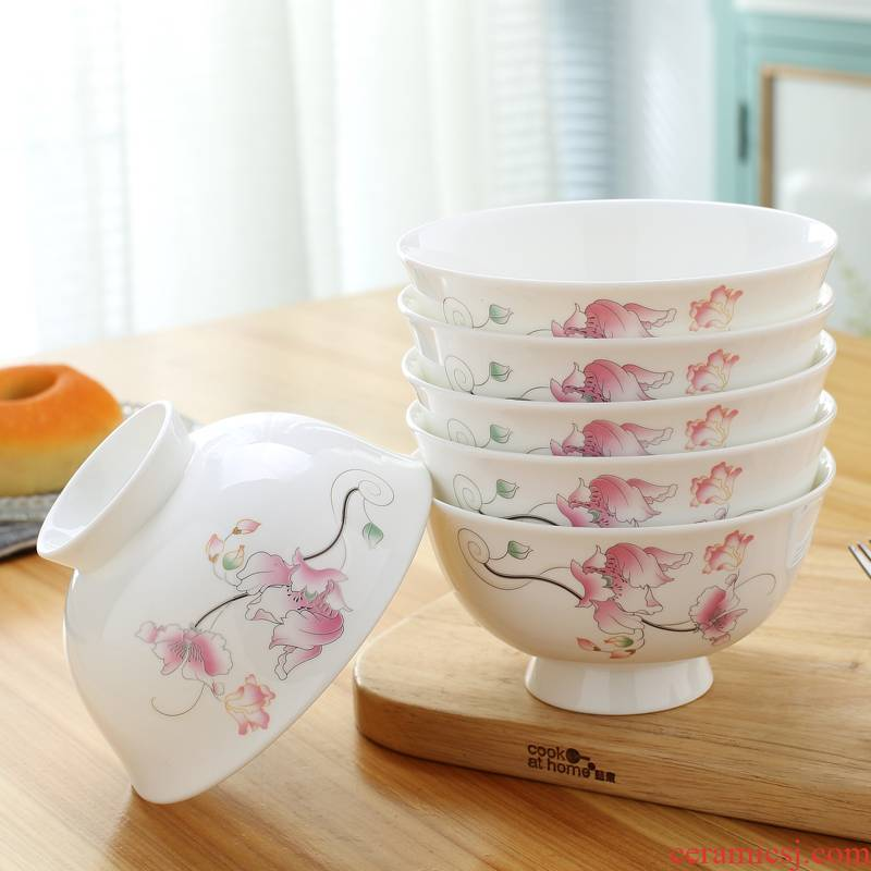 Jingdezhen 5 inches tall foot ipads porcelain bowl bowl of rice bowls set Chinese ceramic tableware bowls small bowl bowl bowl