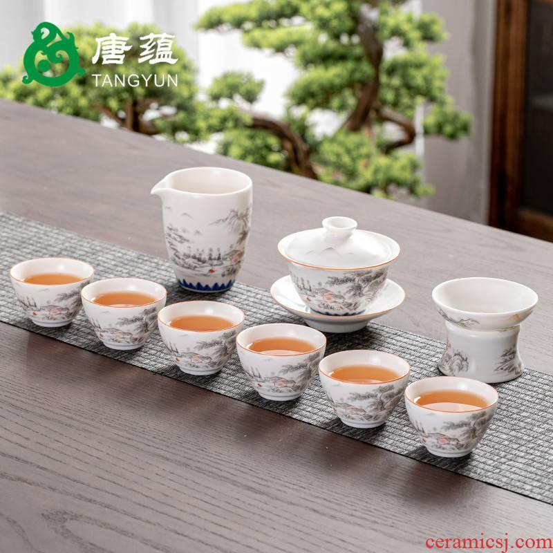 Gold colored enamel kung fu tea tea set suit household ceramics up ceramic white porcelain tureen teapot tea cups