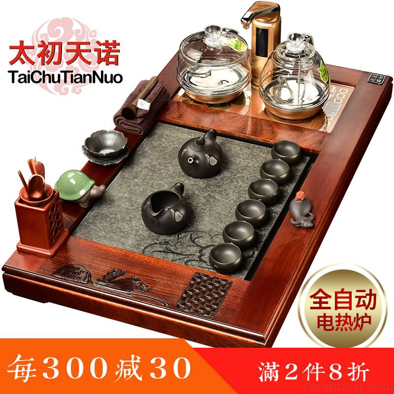 The beginning day, The whole tea set to spend pear wood redwood office with tea tray ceramic tea pot - automatic furnace