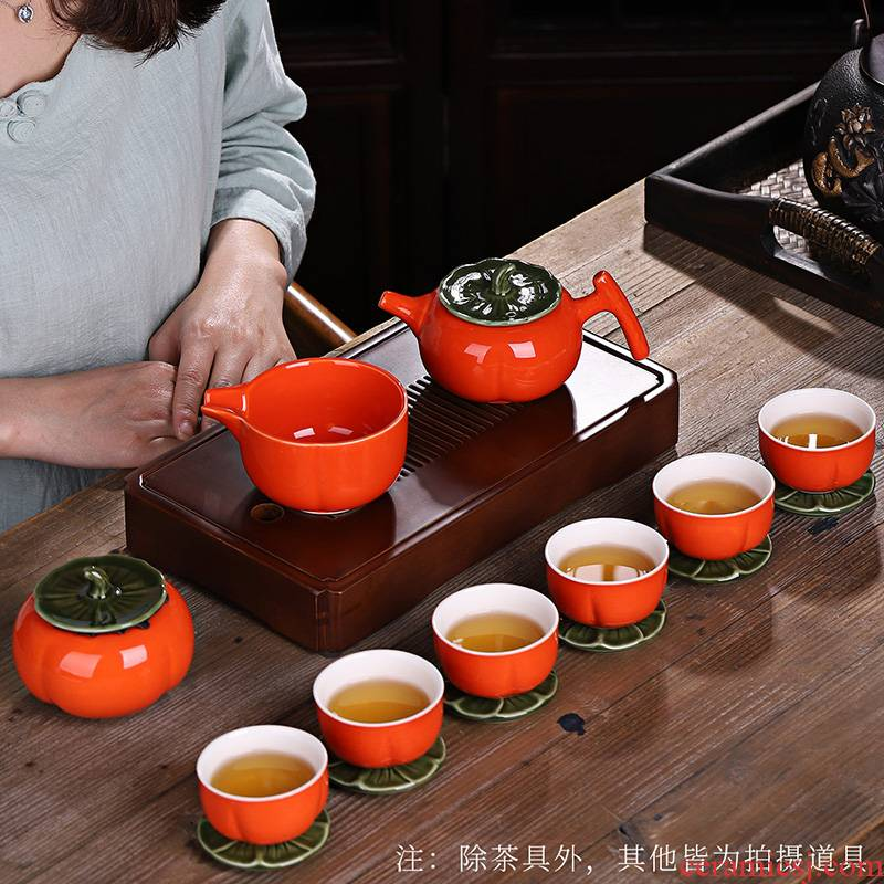 Japanese persimmon persimmon creative best kung fu tea set gift box set persimmon teapot contracted household caddy fixings