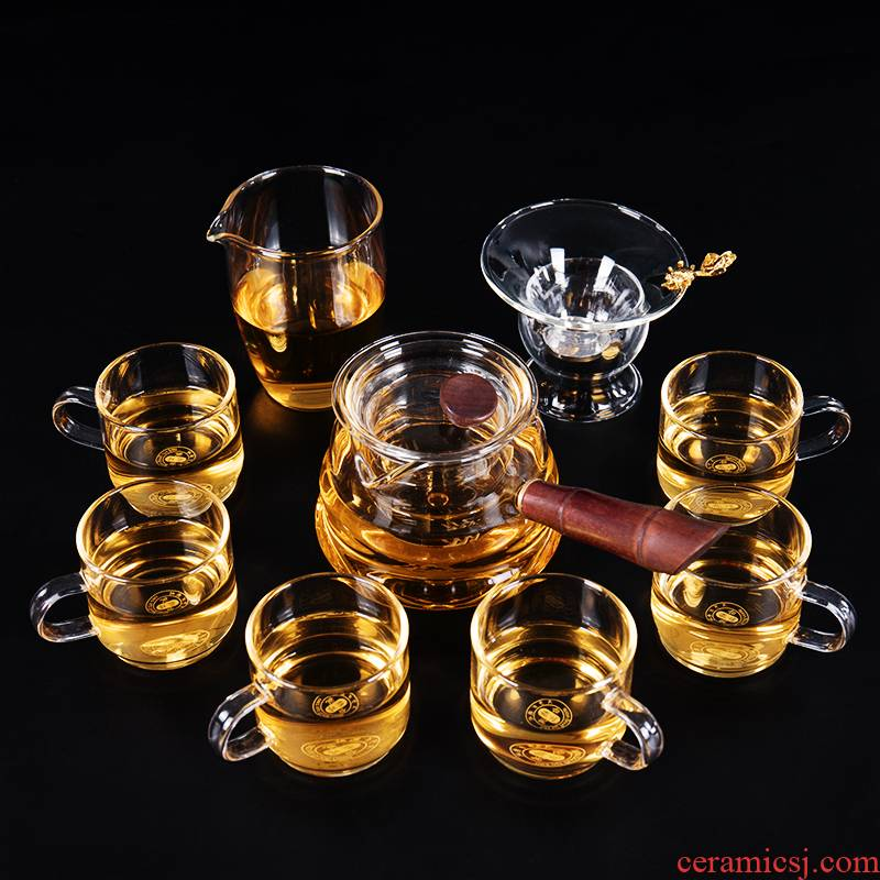Ronkin Japanese glass tea set suit household contracted and I sitting room the teapot tea tureen kung fu tea cups