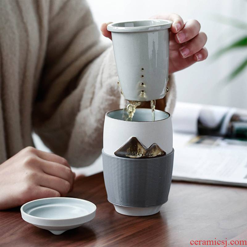 Contracted creative ceramic mugs tropical insulation cover filter glass tea portable travel office