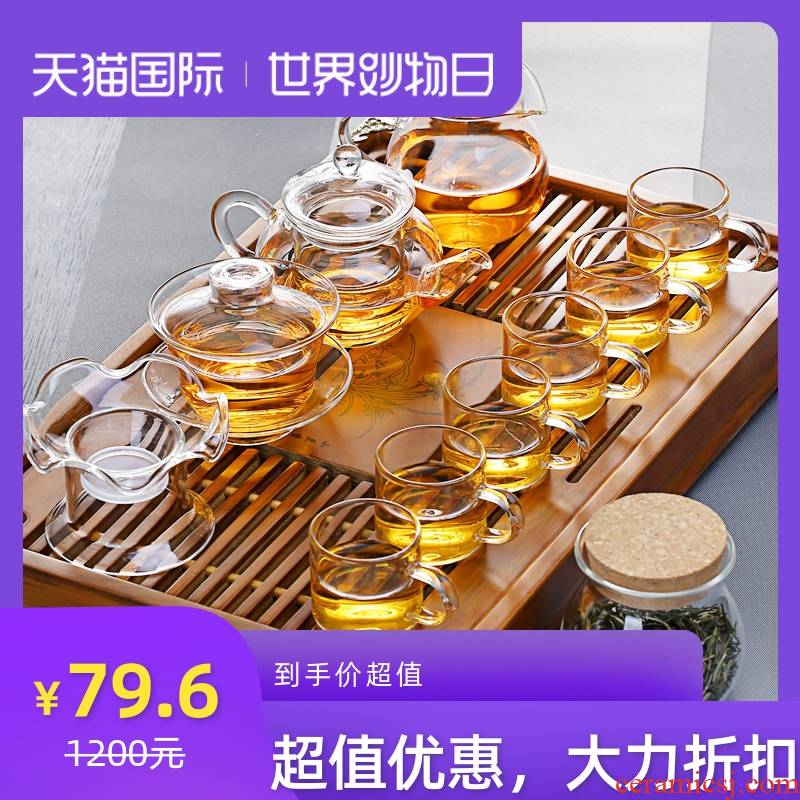 Glass kung fu tea set heat cup tureen small pot and cups of a complete set of Japanese household contracted transparent tea set