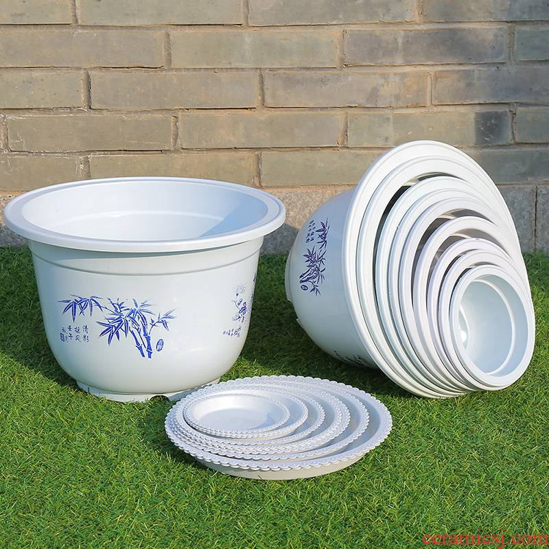 More manufacturers plastic flower POTS plastic quality big flowerpot More meat imitation ceramic flower pot special offer a clearance package mail
