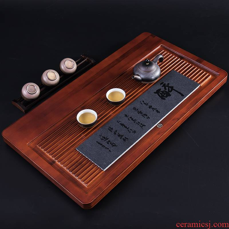 Ronkin solid wood tea tray household contracted sitting room drainage sea kung fu tea tea color pallet