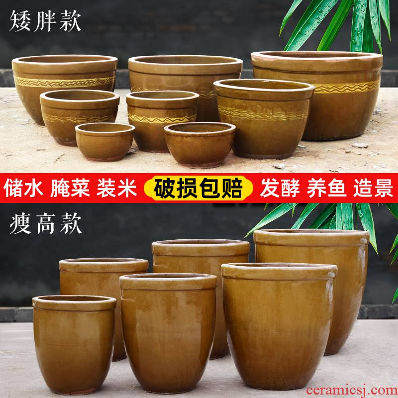 Scene filled the old ceramic large household ricer box earthenware storage tank with fish tank water lily lotus pickles
