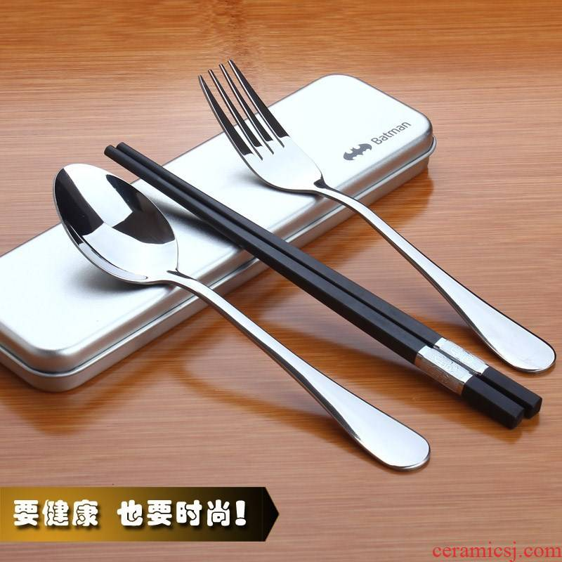 Portable adult stainless steel tableware Korean students receive chopsticks spoons fork box and Portable//