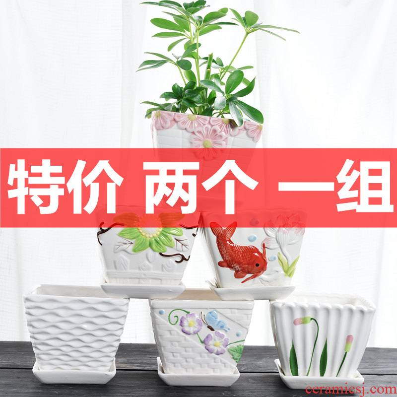 Special offer a clearance large flower pot ceramics creative move of large diameter butterfly orchid potted meat more money plant orchid flower POTS