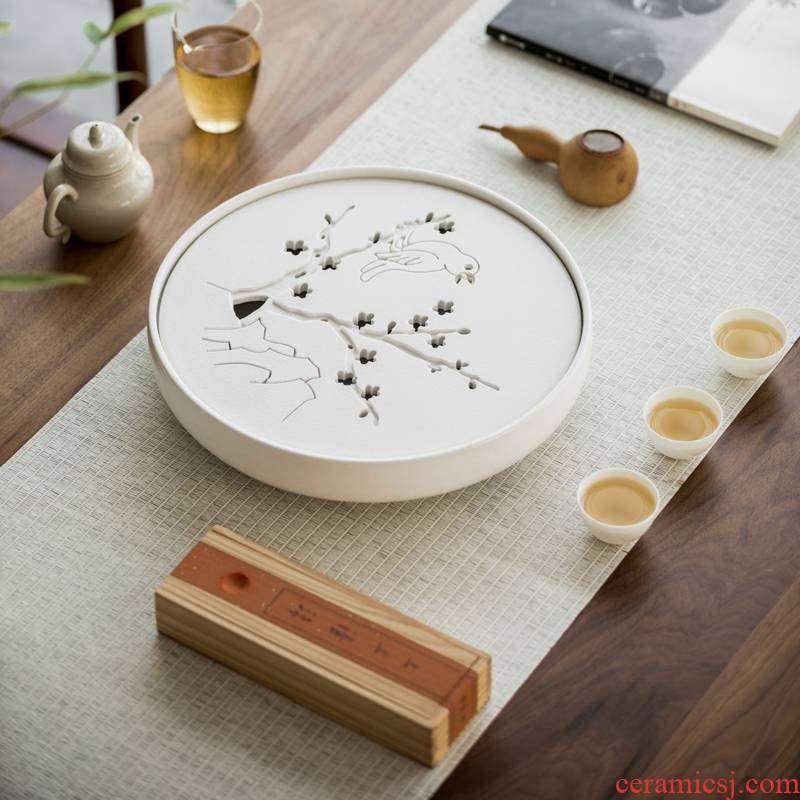 Vegetation school I and contracted household ceramic tea tray was kung fu tea set Japanese saucer dish water dry plate of tea table