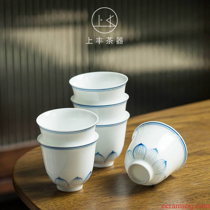 Feng hand - made teacup sample tea cup on kung fu tea accessories ceramic drinking cup master cup small cups white porcelain cup group