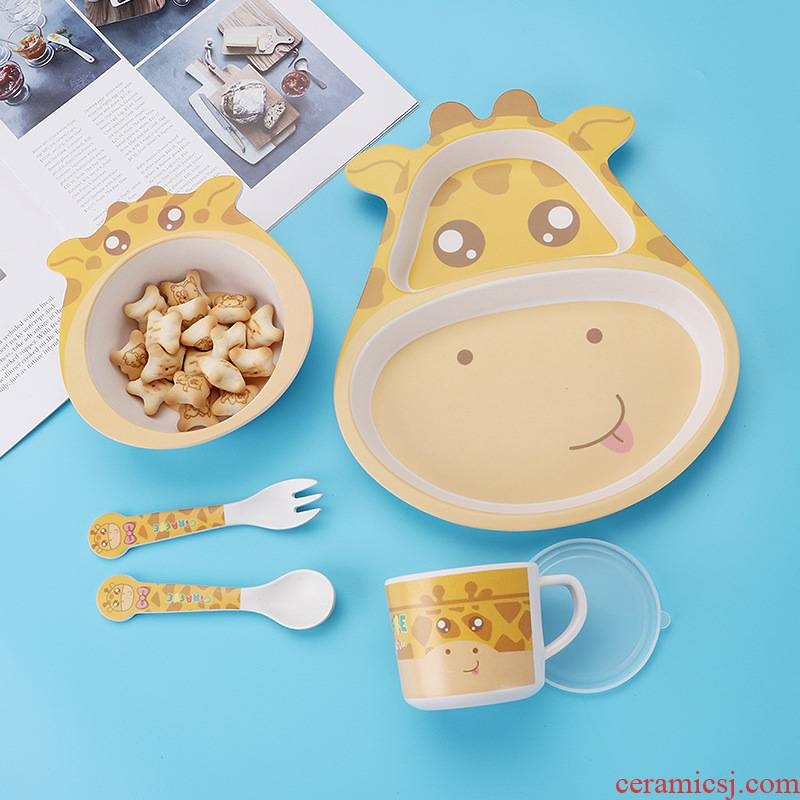 1 set tableware five bamboo fiber children suit household express cartoon baby eat bowl spoon, fork frame plate