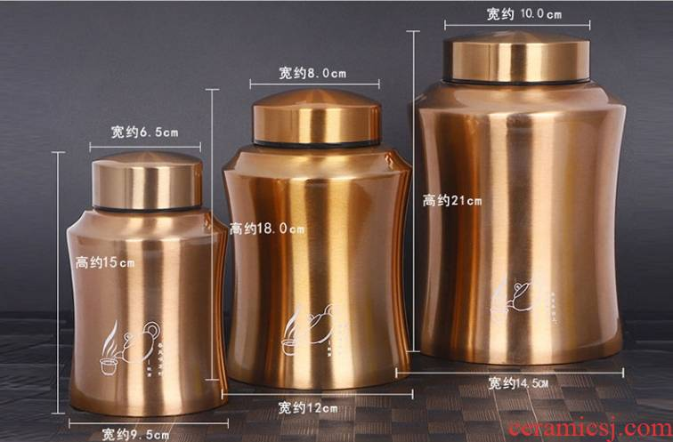 The food - 304 grade stainless steel tea pot portable metal sealing box size store tea tin general thickening