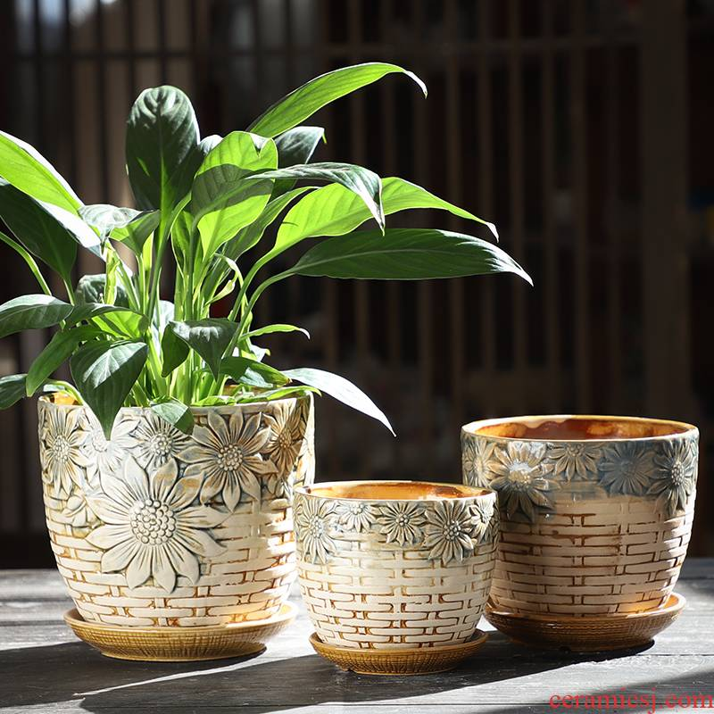 Flowerpot ceramic creative Chinese wind coarse pottery with tray was breathable contracted green plant money plant bracketplant household fleshy flower pot