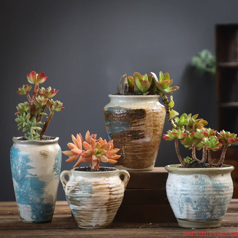Fleshy flowerpot combination suit large creative move coarse pottery breathable flesh old running the restoring ancient ways is a flower pot special offer a clearance
