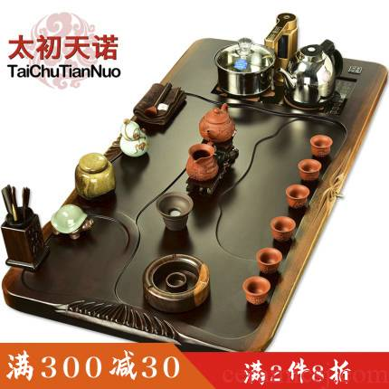 The beginning day, The tea set big ebony wood tea tray was home four unity tea stove automatic block The whole outfit