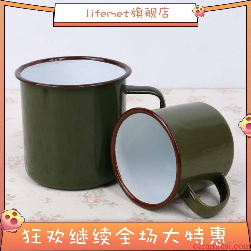 After 80 s nostalgia tooth enamel koubei tank forces army green cups monaural metallic iron tea urn
