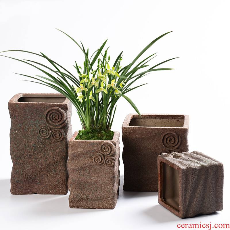 Red mud clay large through creative ceramics pockets money plant orchid pot pottery pot office green plant meat meat the plants