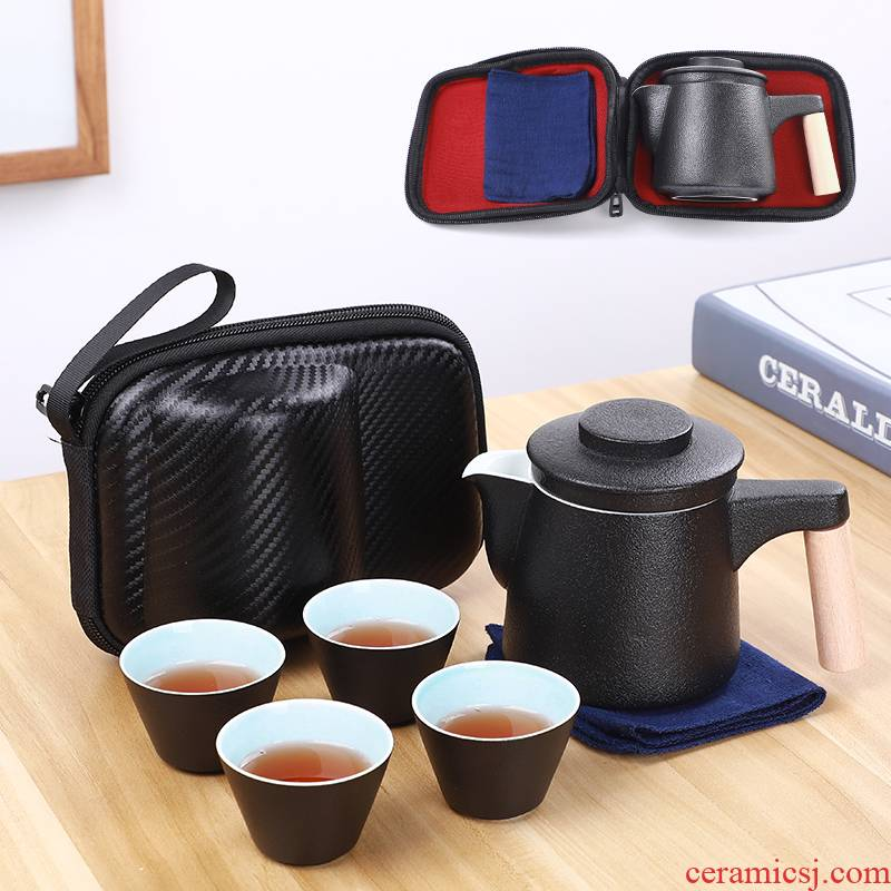 T travel tea set suit portable bag type, household cup teapot is suing the car kung fu a pot of 24:27 and a cup of tea