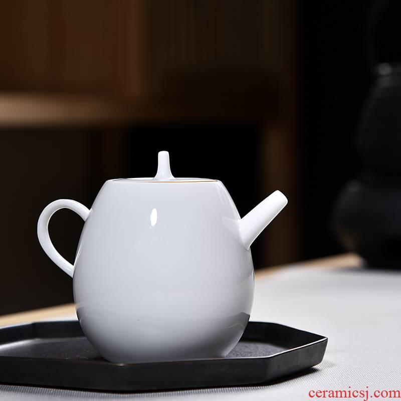 Into this monkey ceramic kung fu tea kettle household manual suet jade teapot dehua white porcelain ceramic teapot single pot
