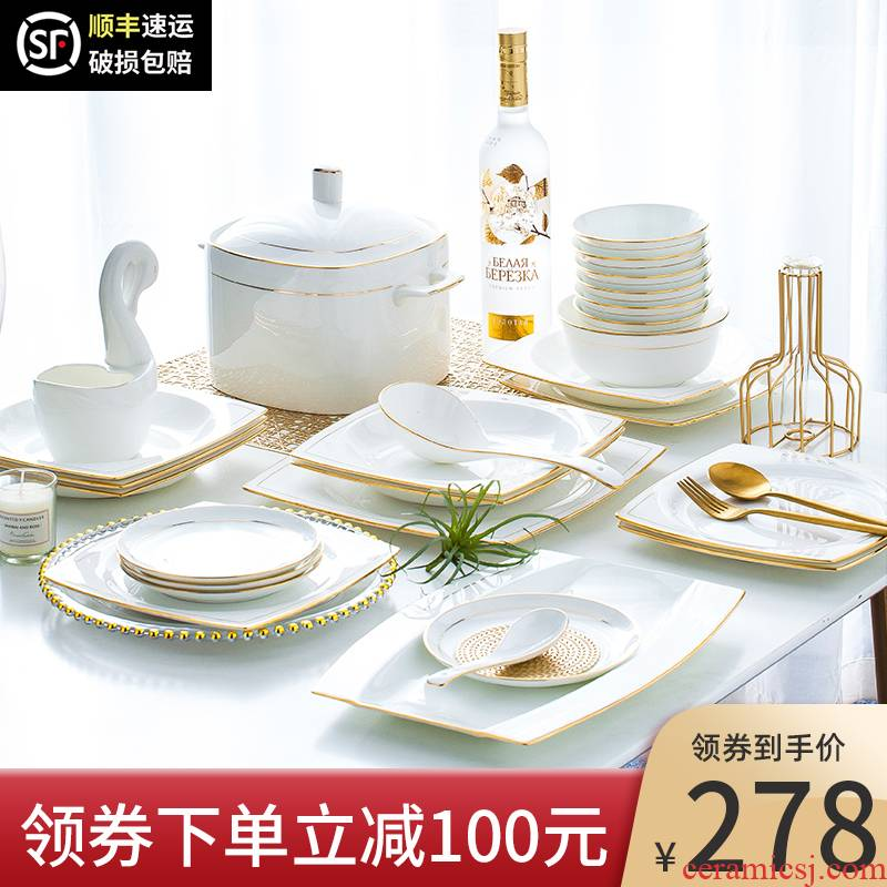Dishes suit household contracted Europe type up phnom penh ipads porcelain of jingdezhen ceramic tableware light creative key-2 luxury Dishes