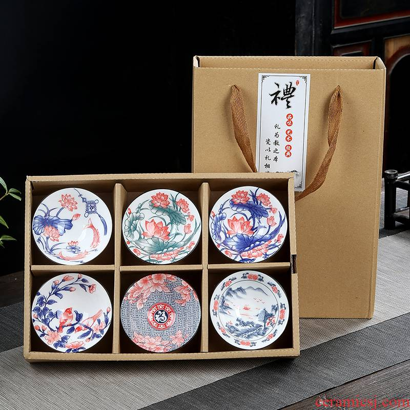 The flute at upstream of blue and white porcelain cup kung fu ceramic cups single master cup tea restoring ancient ways, Japanese sample tea cup size