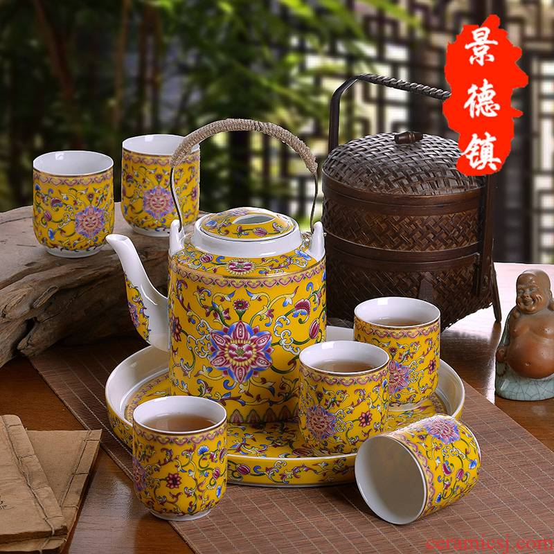 Jingdezhen ceramic tea set suit household enamel see colour of a complete set of the sitting room girder pot of tea tea tray was large teapot