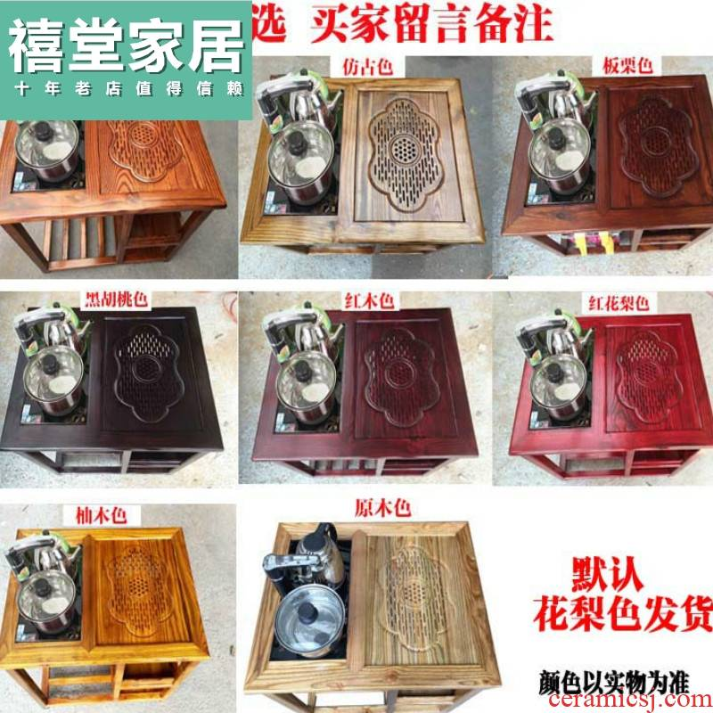 The tea - table household balcony furniture combination small tea small contracted for kung fu tea table, solid wood mobile tea sets tea
