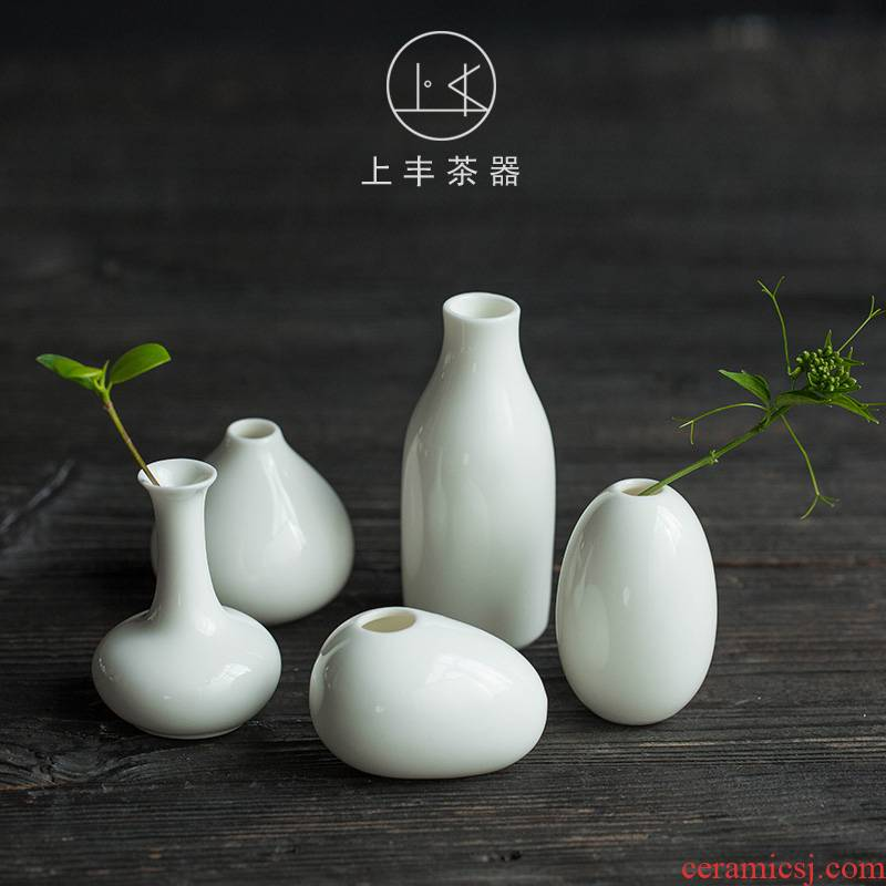 On the an abundant tea suet jade porcelain flowers, fresh white porcelain bottle home furnishing articles creative Chinese zen retro flower receptacle