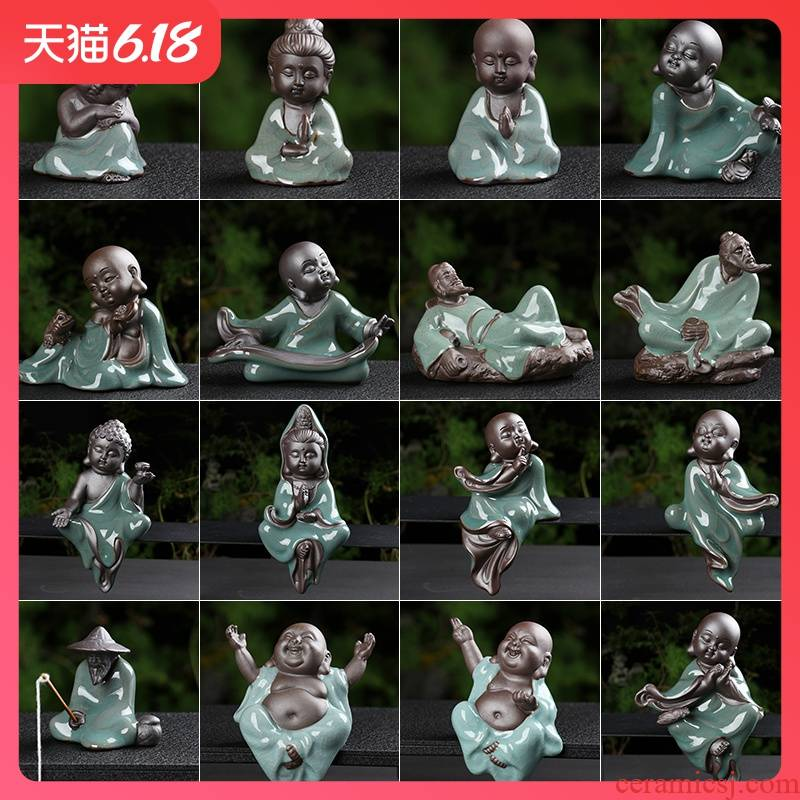 Creative ceramic figures big brother up with furnishing articles furnishing articles water apparatus tea pet pet guanyin on - board, furnishing articles special package mail