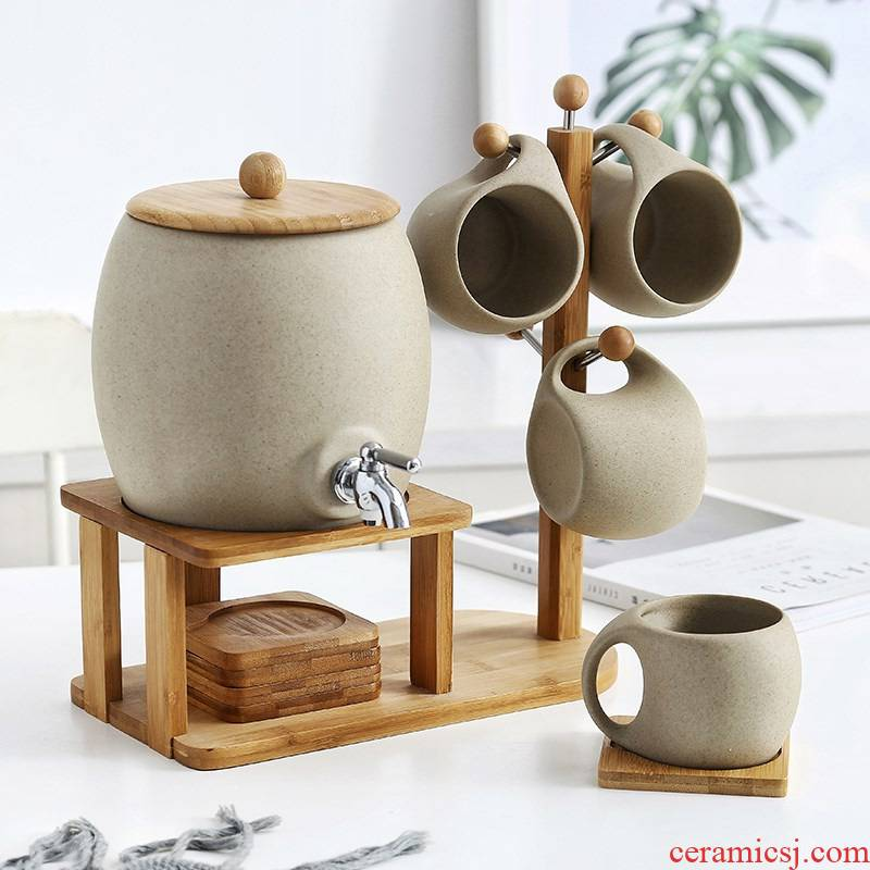 The Nordic cold bottle ceramic high - temperature home sitting room large - capacity cold kettle cup tea set with tap water